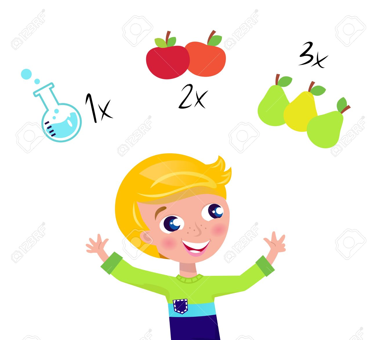 Little cute math child counting fruit. Vector Illustration. Stock Vector - 9721444