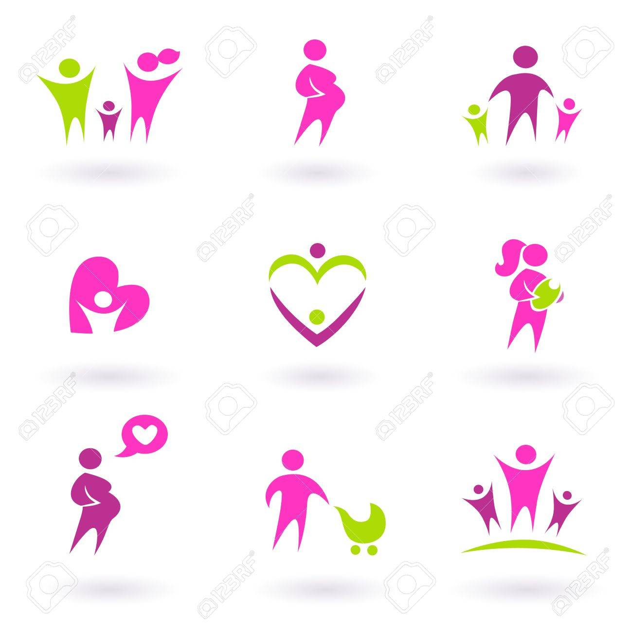 Set of family and pregnancy set icons. Vector Illustration Stock Vector - 9721443