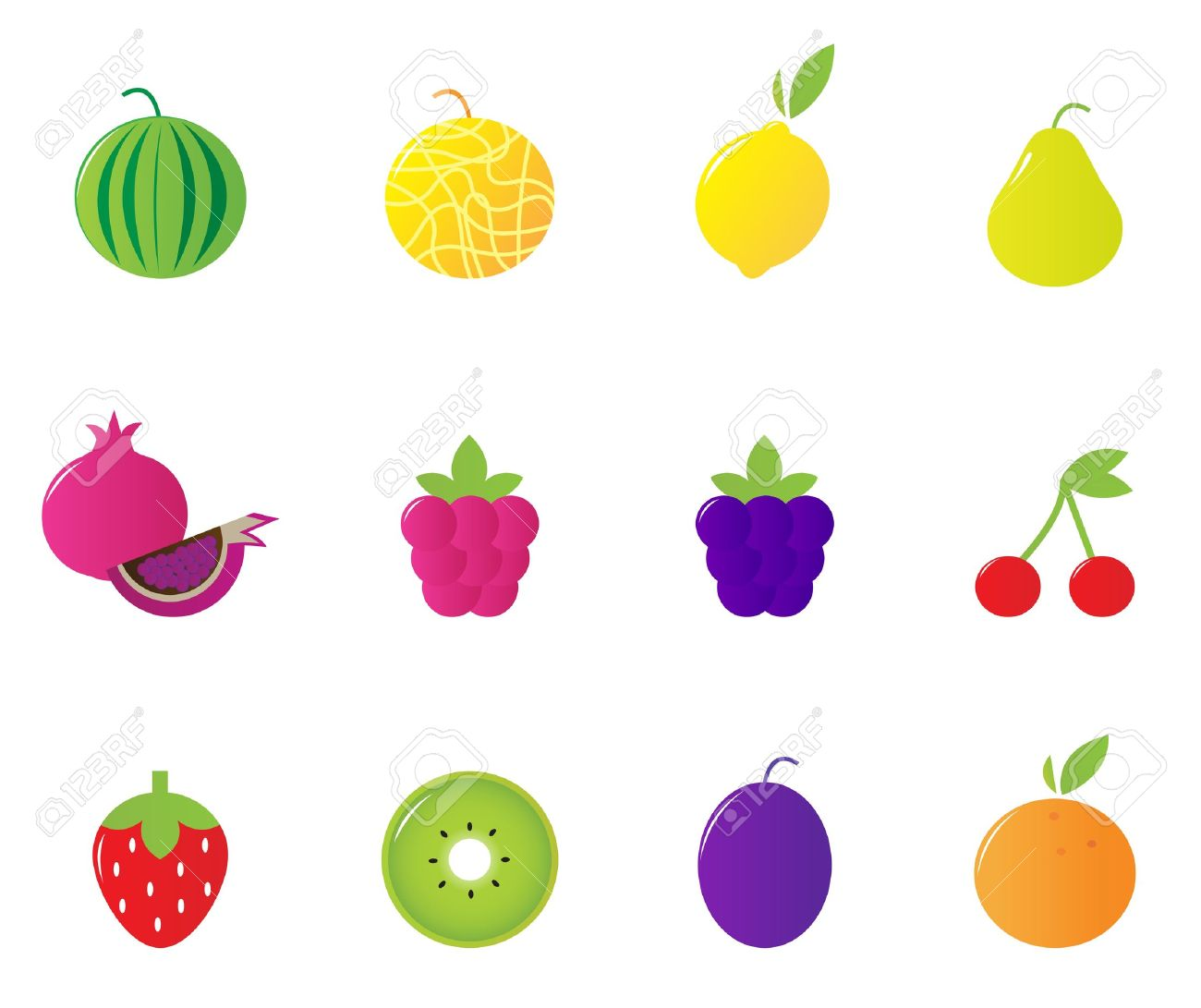 12 fruit and berries cute icons collection vector illustration rh 123rf com fruit basket vectors fruit vectors free download