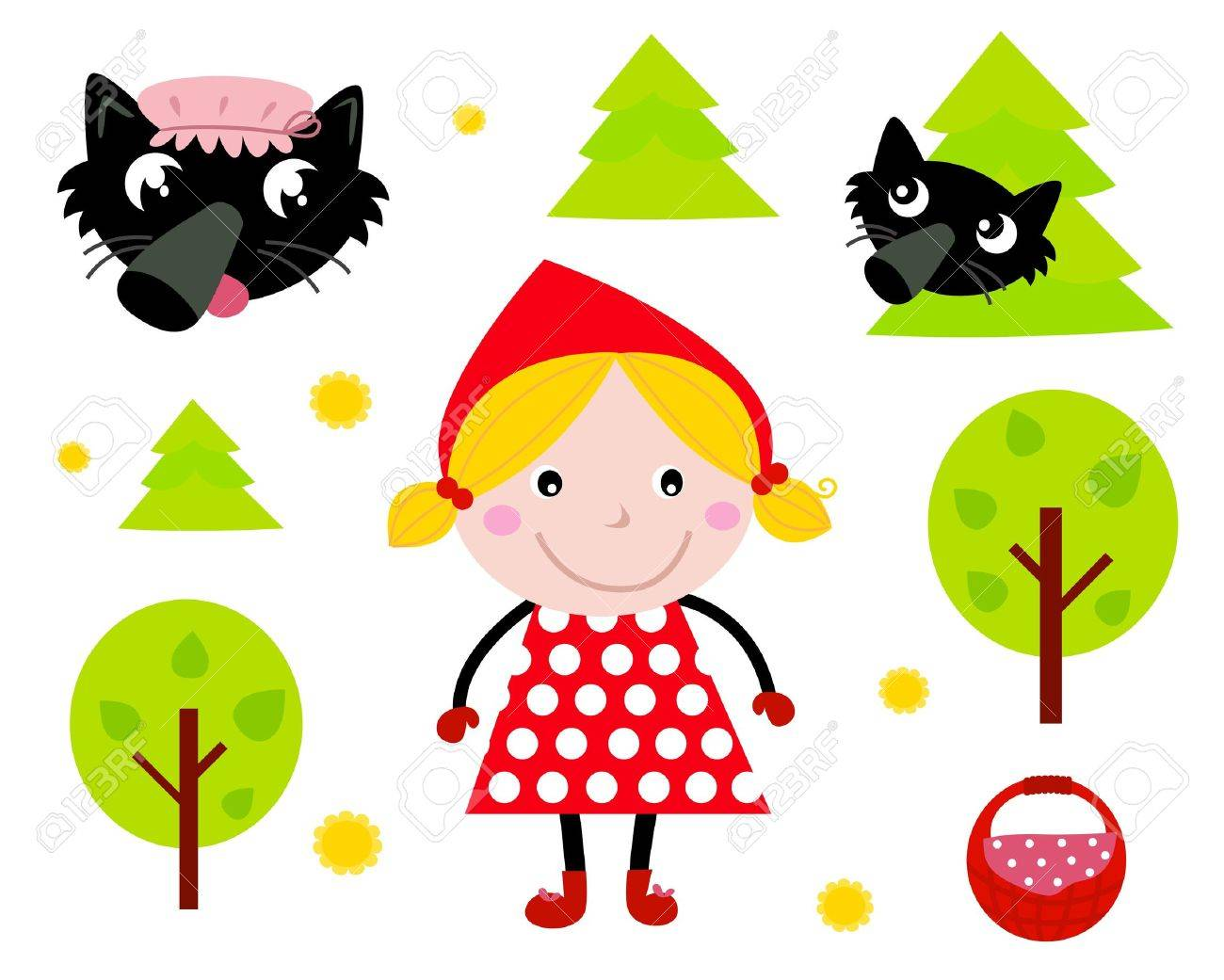 Red riding hood and wolf tale icons isolated on white. Vector cartoon illustration. Stock Vector - 9884251