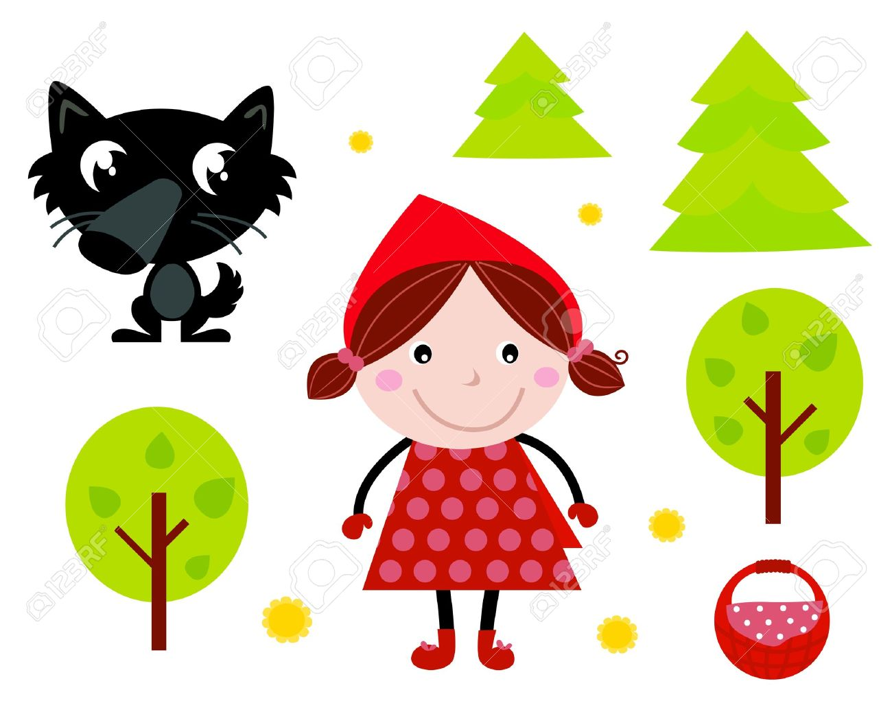 fairy tale icons collection isolated on white red riding hood rh 123rf com little red riding hood clipart black and white little red riding hood grandma clipart