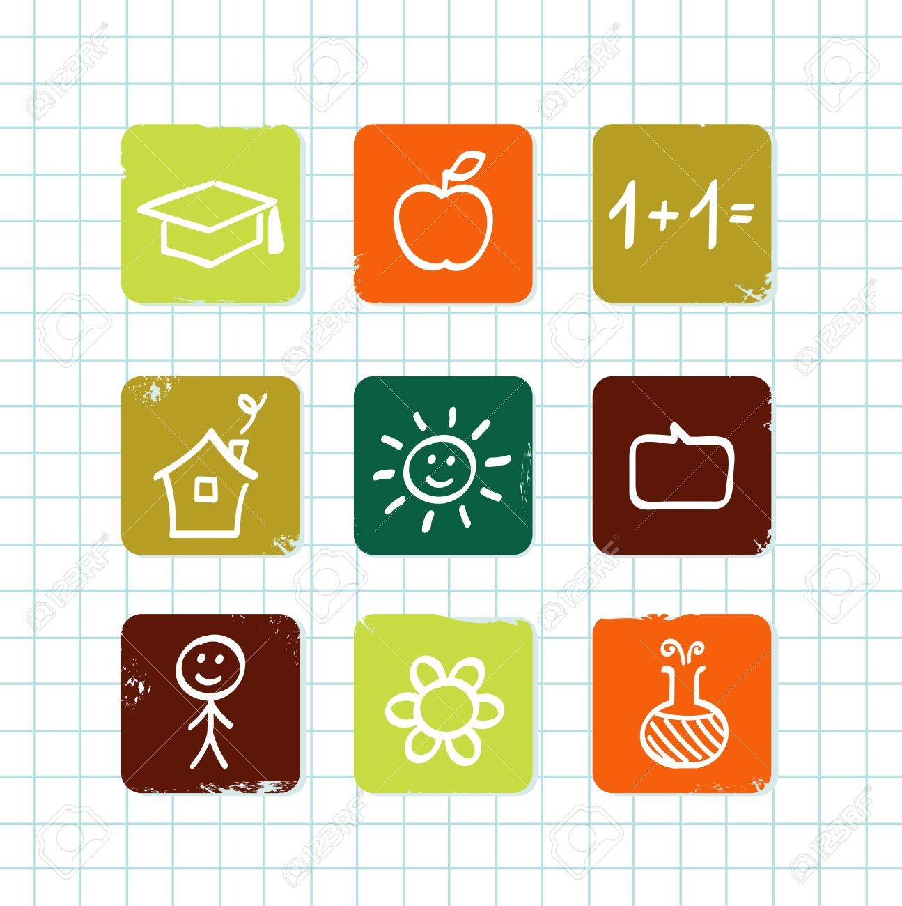 Hand drawn School icons. Isolated on school grid. Stock Vector - 10128358