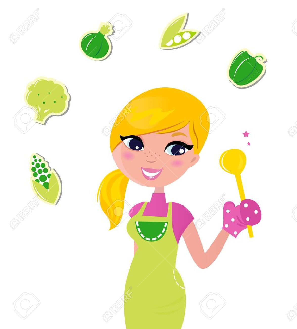 Cute Blond Woman Cooking Healthy Food. Vector Illustration ...