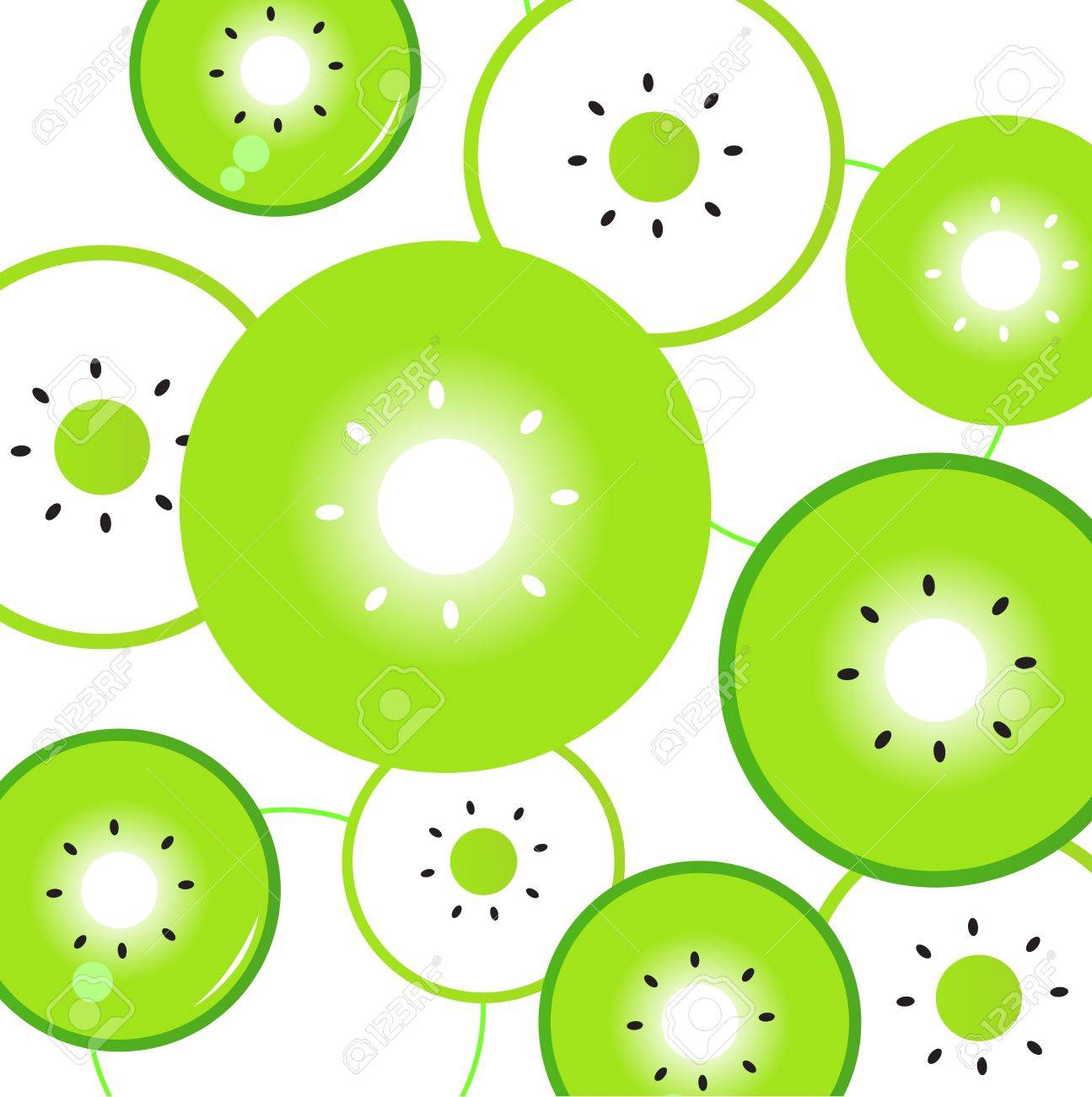 Kiwi Slice Drawing Fresh Stylized Fruit Pattern