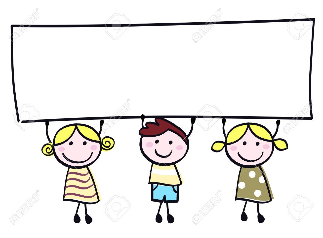 Happy cute little girls and boy holding empty blank banner - cartoon illustration. - 10378939