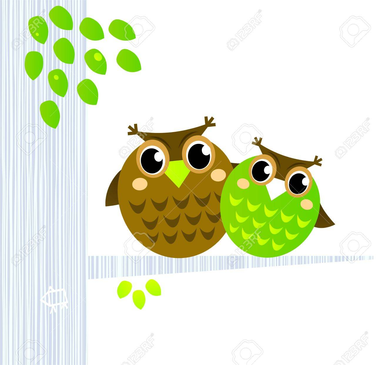 Owl Mascots sitting together - Vector cartoon Illustration. Stock Vector - 10378938