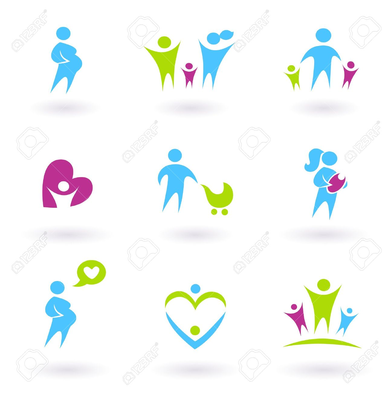 Icon collection - Family, Pregnancy and Parenthood - blue and green Stock Vector - 10445354