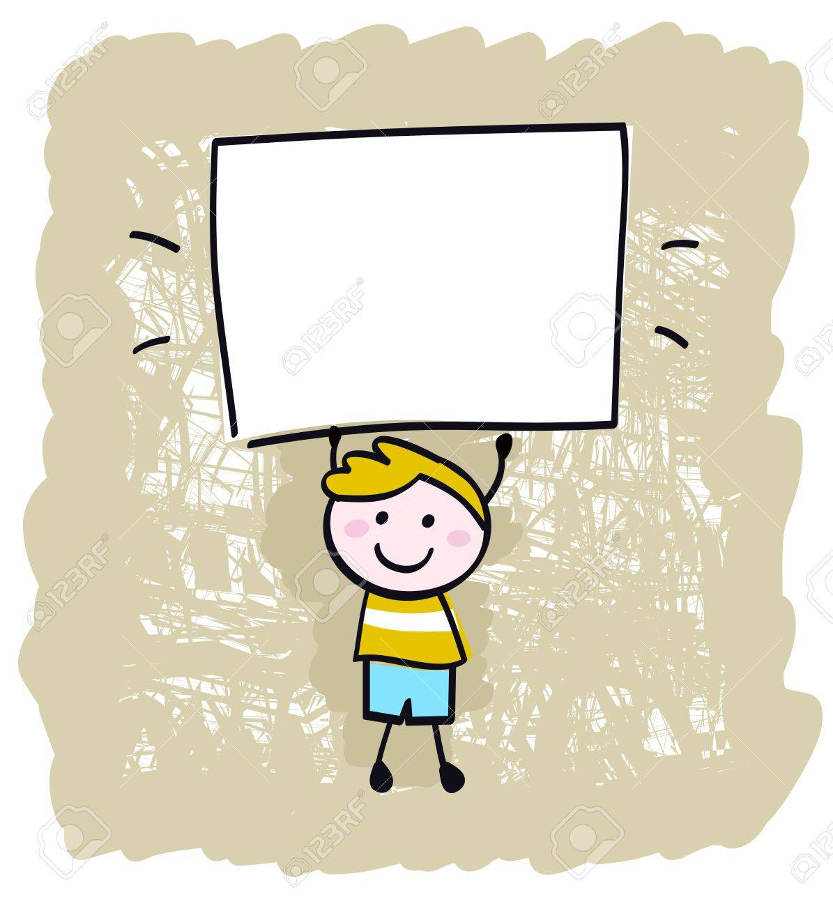 Cute happy boy in retro style holding blank banner sign - vector illustration. Stock Vector - 10445366
