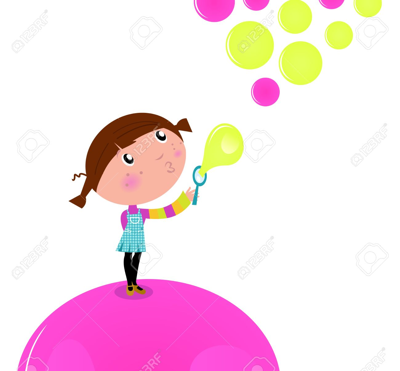 Lovely Little Girl Blowing Soap Bubbles In The Air. Royalty Free ...