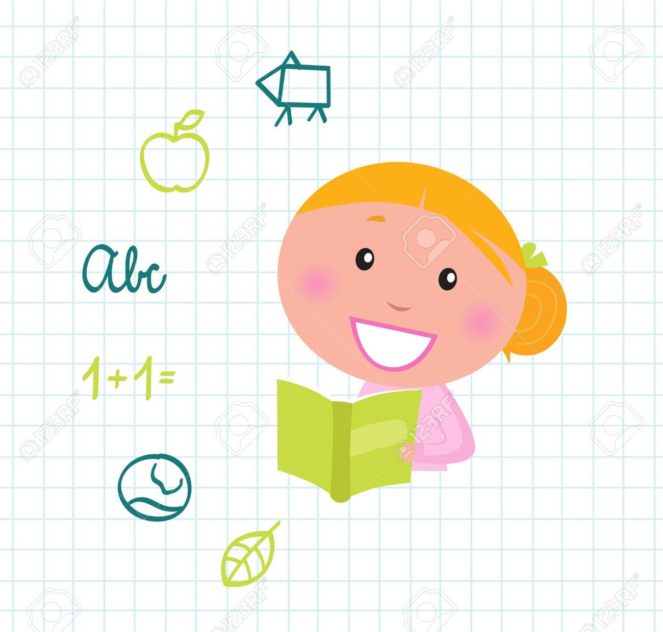 Little cute Girl with Book, School items isolated on white grid Stock Vector - 10618041
