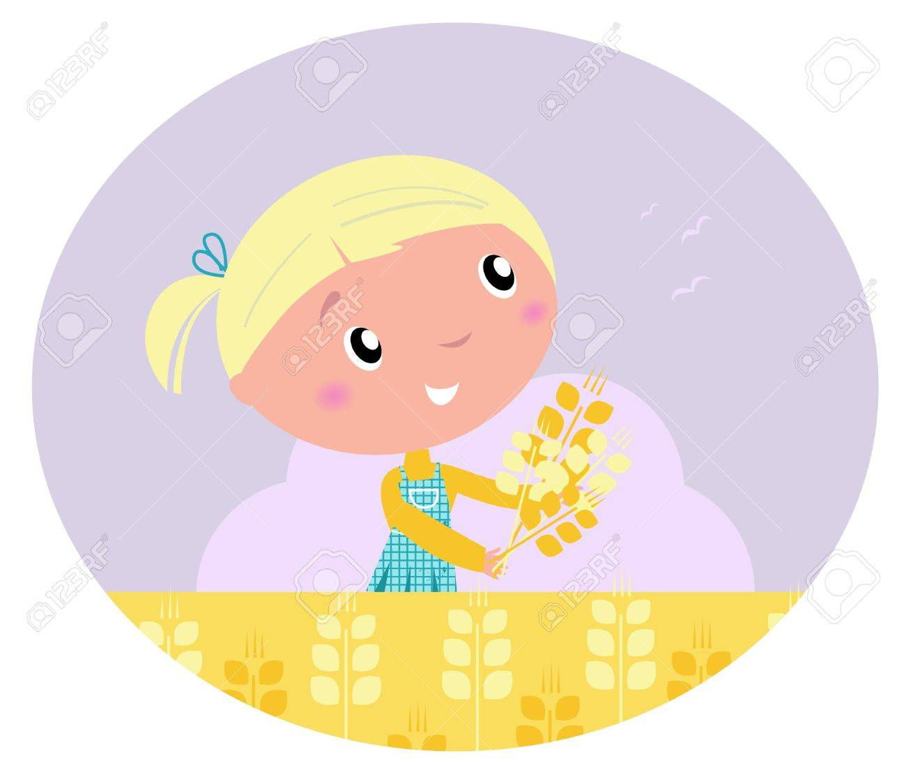 Harvest and grain - Little child with harvested cereals. Vector cartoon ilustration. Stock Vector - 10618060