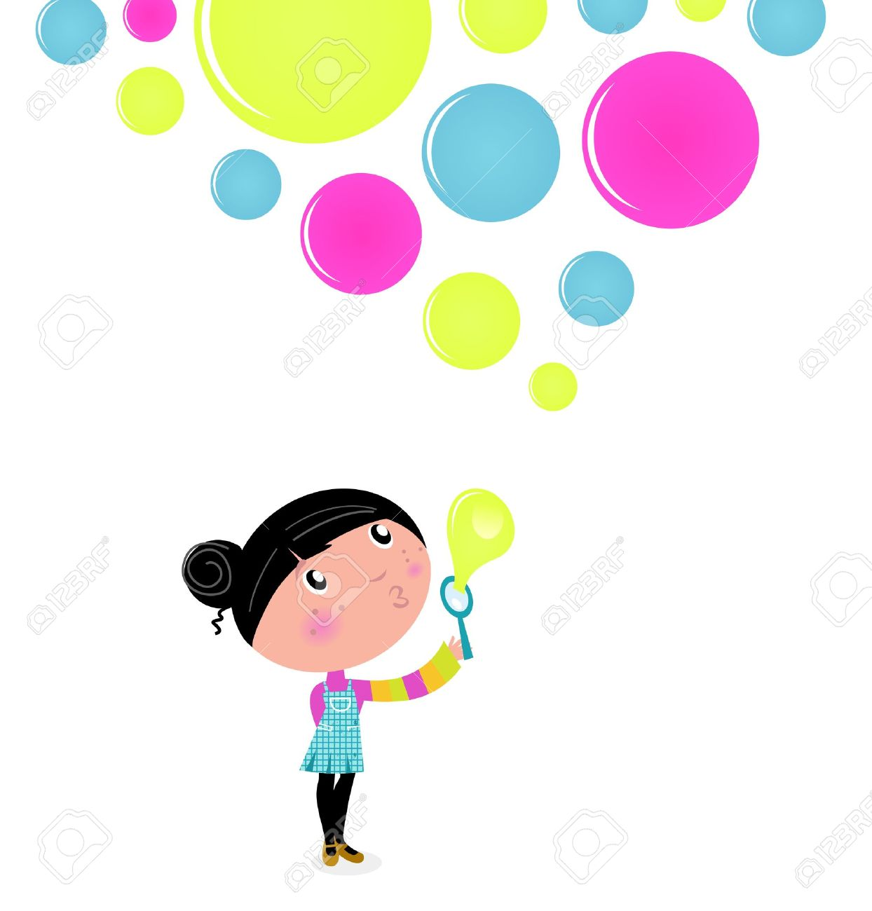 Little Girl blowing Soap bubbles. Vector Illustration. Stock Vector - 10618047