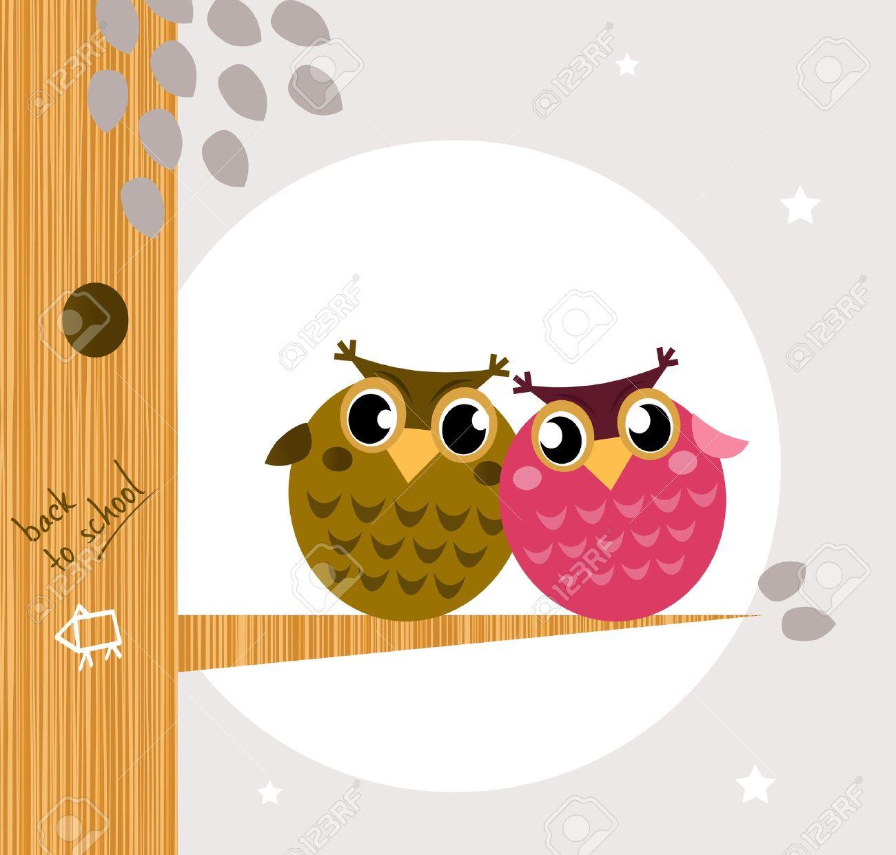 Owl family, tree, moon in background. Vector cartoon Illustration Stock Vector - 10618051
