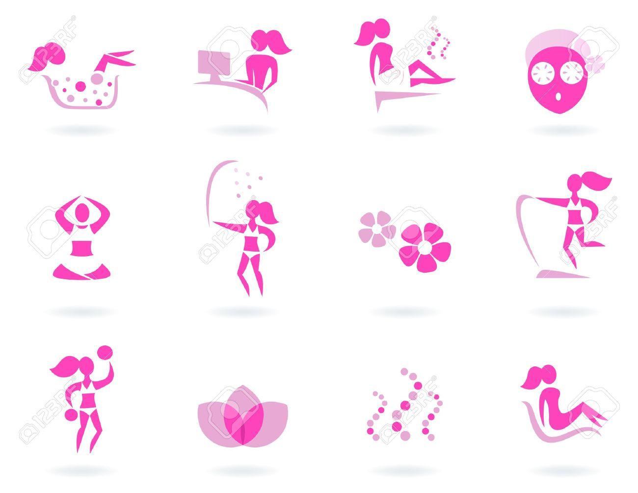 Vector collection of pink spa icons - pink and white. Stock Vector - 10661587