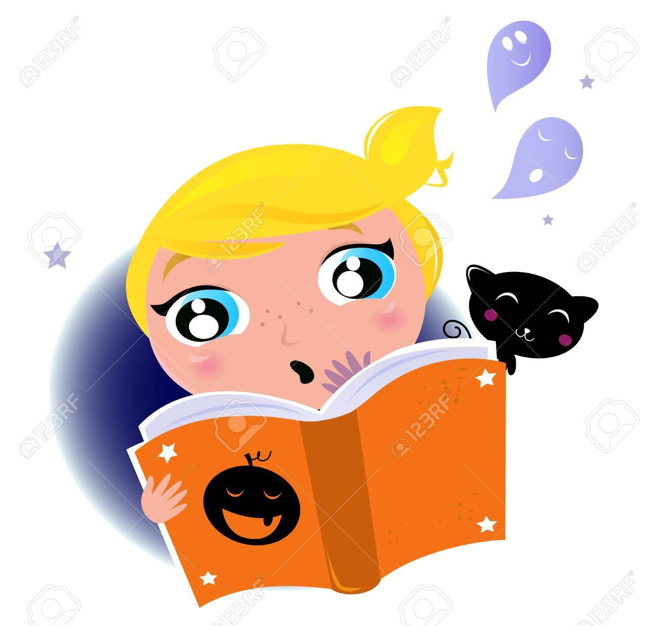 Little Girl Lecture Du Livre De L Halloween Fantomes Chat Noir Illustration Vector Cartoon