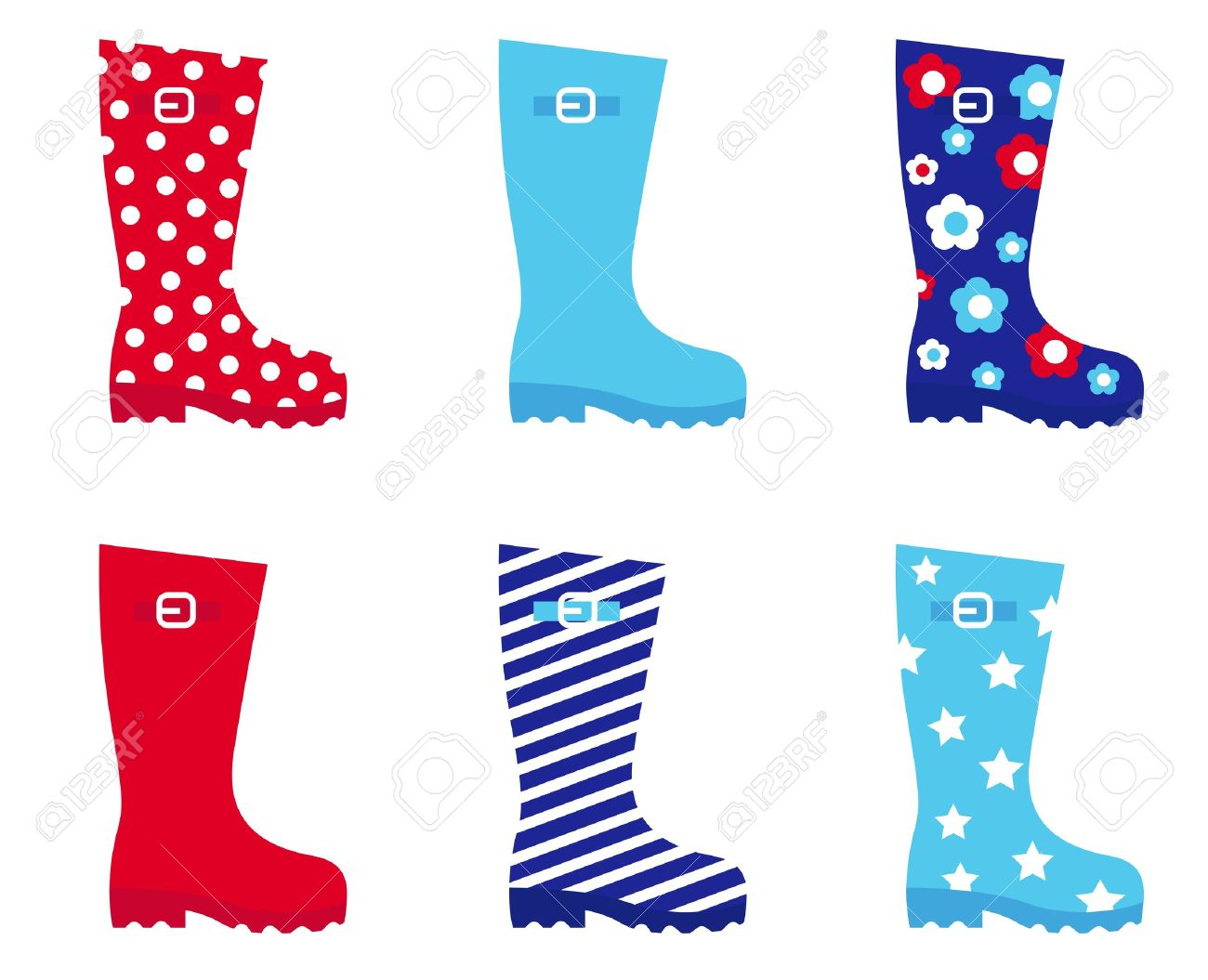Collecton of wellies boots accessories. Vector illustration. - 10841115