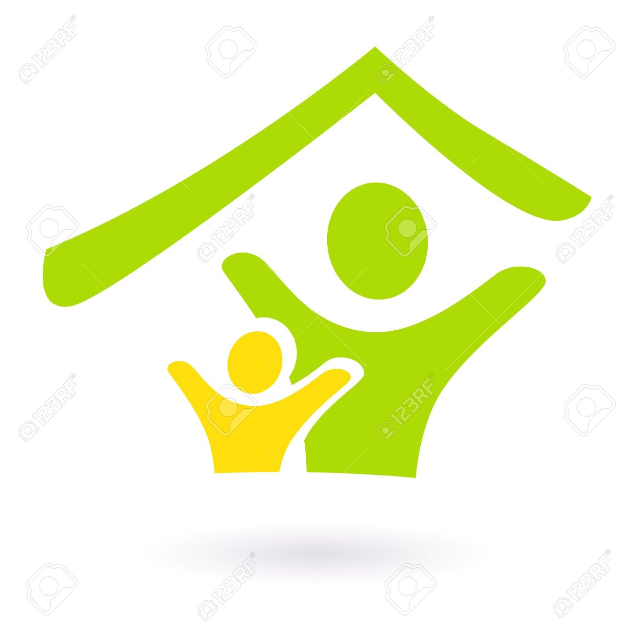Two people under roof icon. Vector Illustration Stock Vector - 10918371