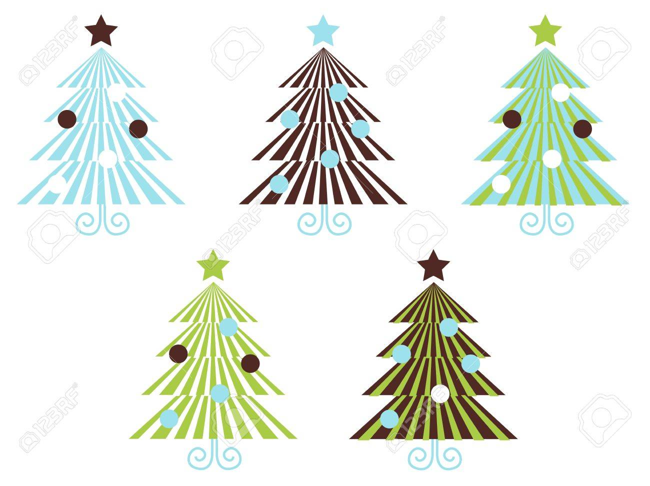 Christmas Trees set in geometrical clean style. Vector Illustration. Stock Vector - 10918365