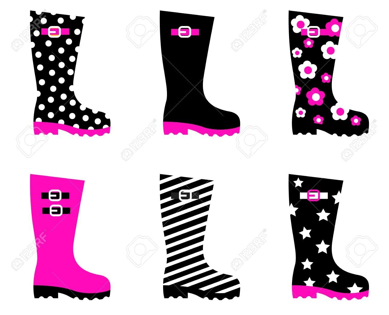 Boots fashion pic boots clip art - Fashion Accessories Boots Collection Isolated On White Vector Collection Stock Vector 10918367
