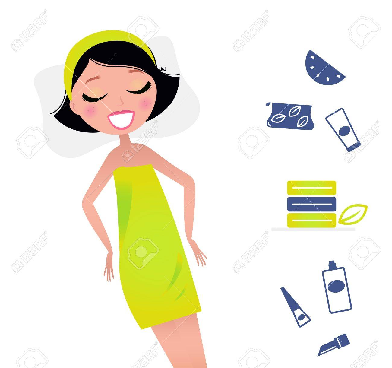 Cute relaxing beauty woman and spa items. Vector Illsutration in retro  style. Stock Vector