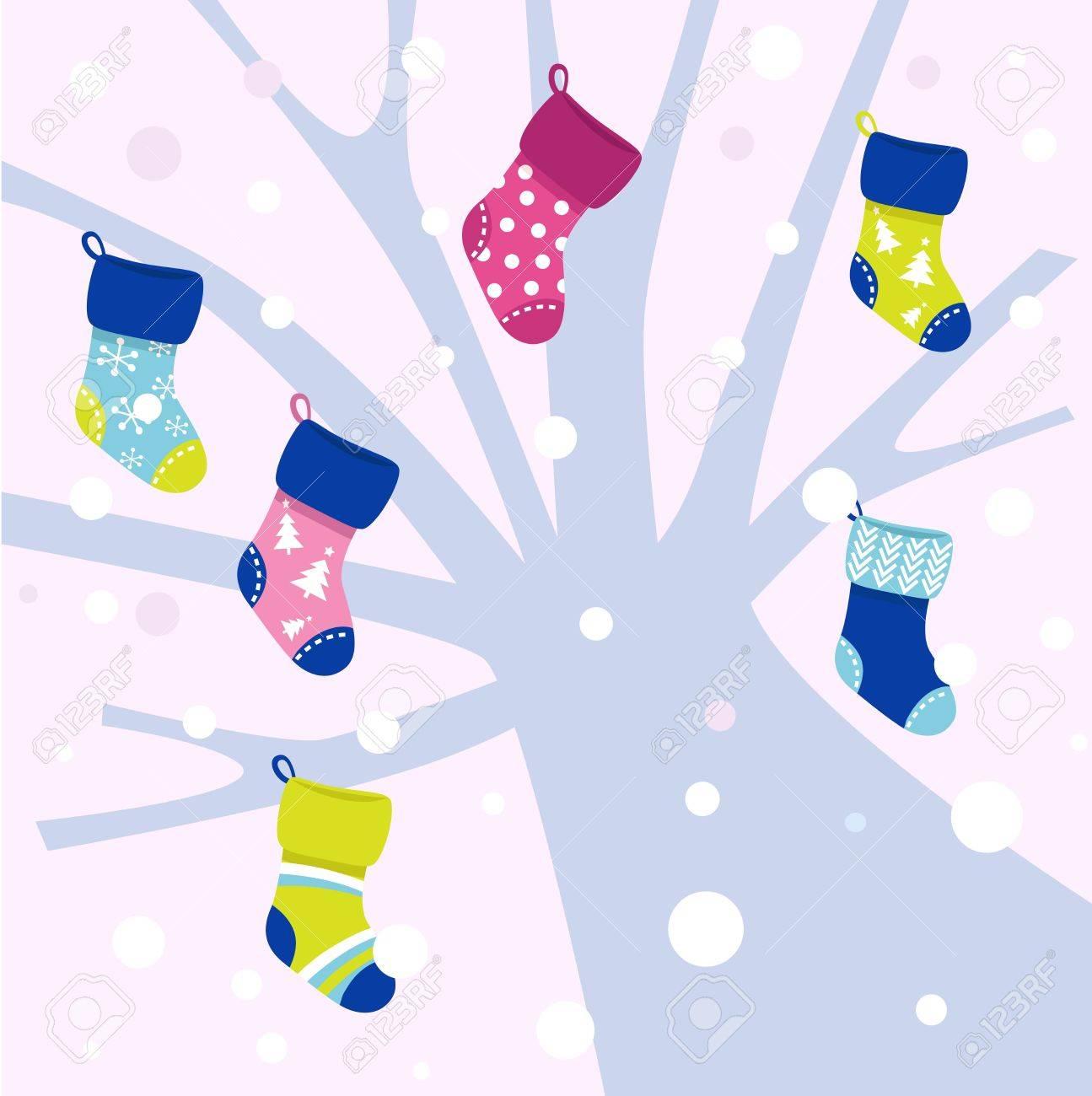Winter colorful socks hanging from tree. Vector cartoon illustration Stock Vector - 10971264