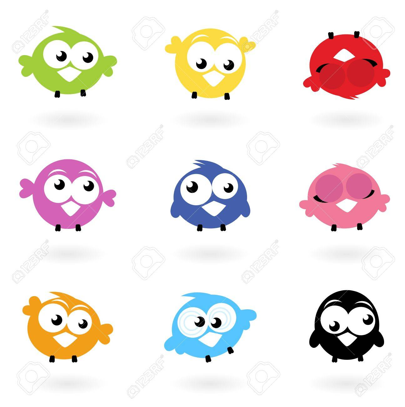 Colorful funny Twitter Birds collection. Vector icons Stock Vector - 11064280