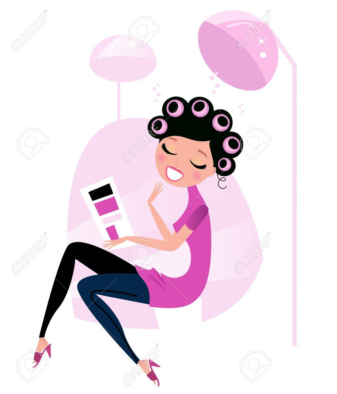 Lady relaxing & reading magazine in Hair Salon Stock Vector - 11064282