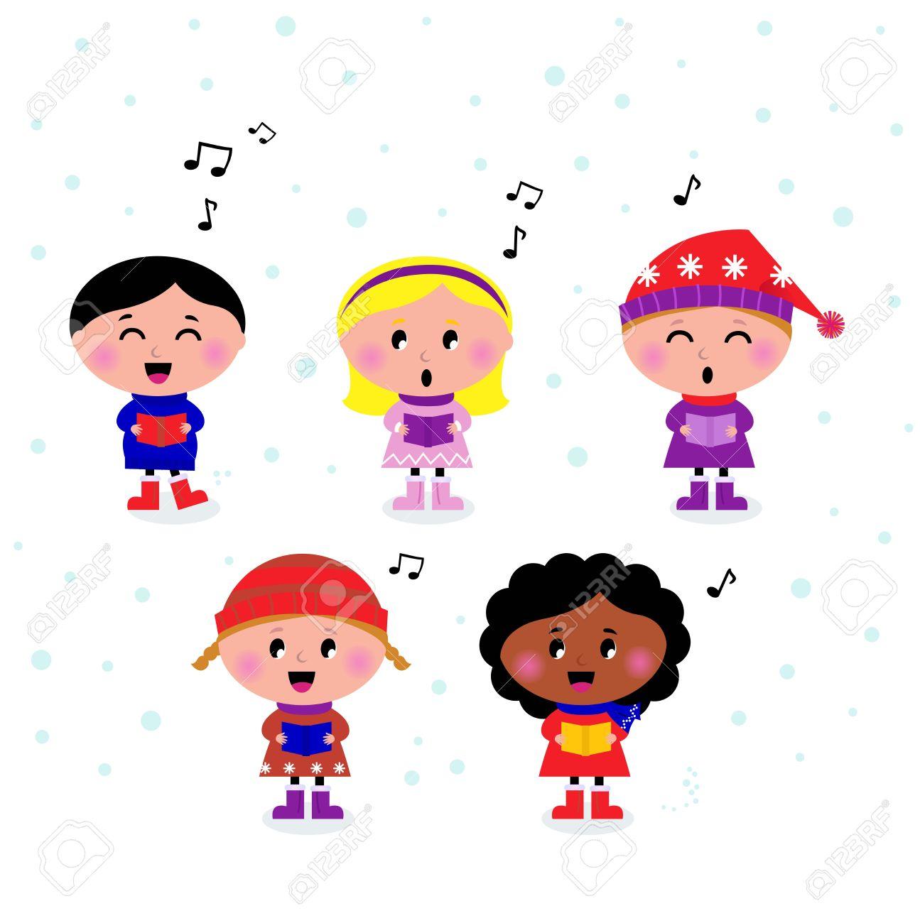 Little Multicultural Kids Singing Christmas Carol. Royalty Free ...