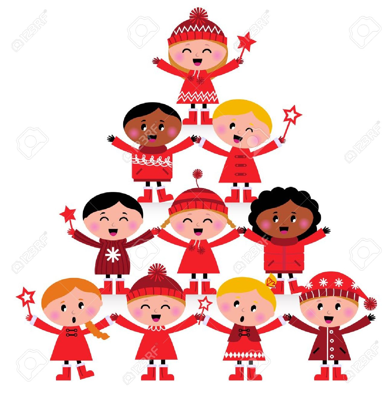 Happy Multicultural Kids In Red Winter Costumes. Great Design ...
