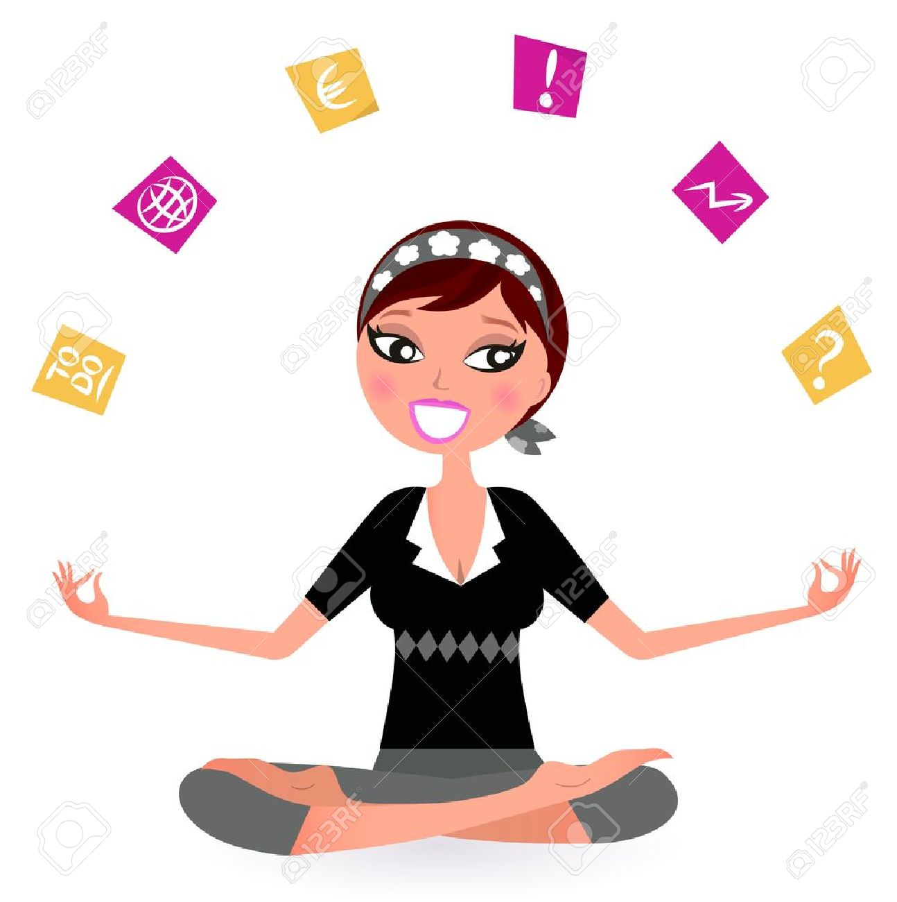 Busy woman with notes trying to relax in yoga position.  Vector retro Illustration Stock Vector - 11272914
