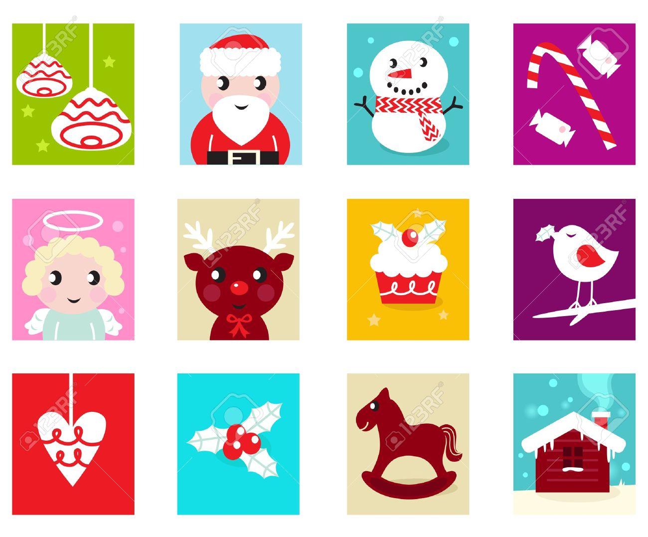 calendario de adviento tiempo de navidad varios dibujos de navidad iconos y elementos