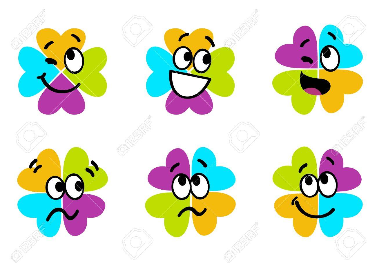 vector collection of colorful four leaf clover royalty free