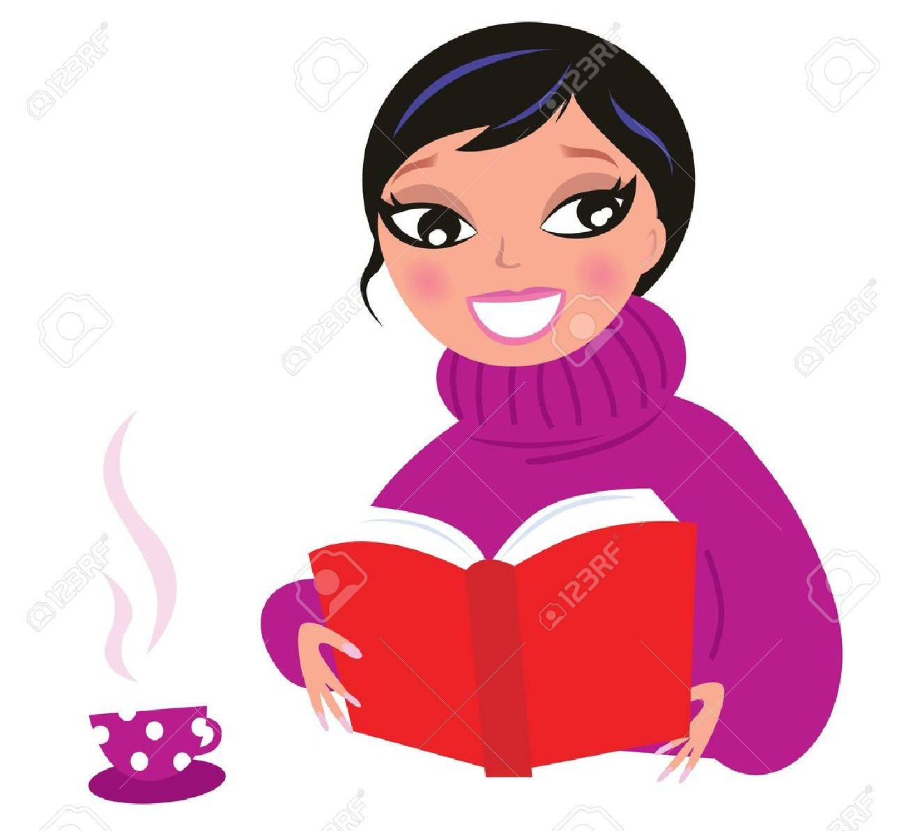 Woman reading or studying book. Vector Illustration. Stock Vector - 11383444