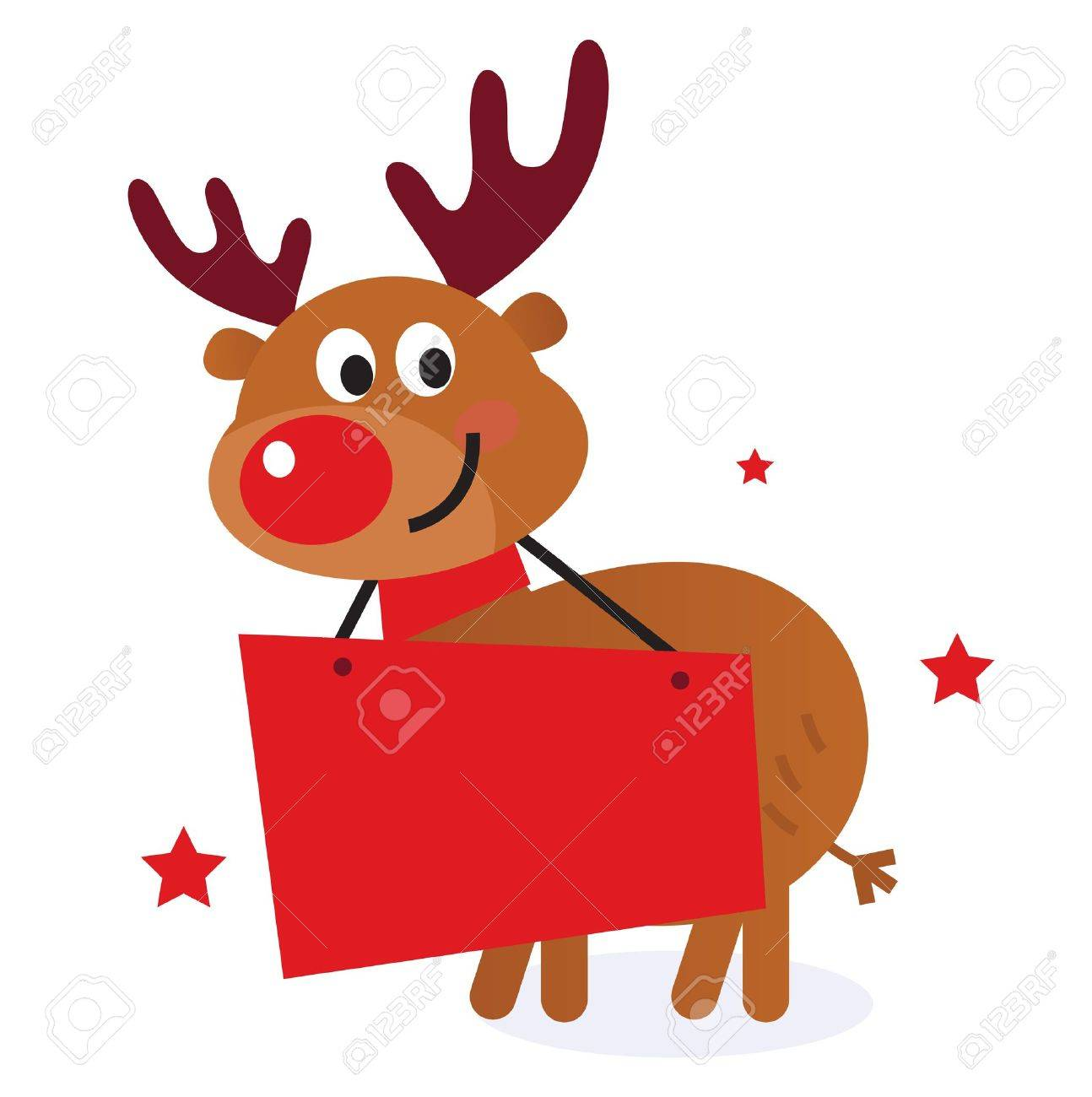 Reindeer with blank banner sign. Vector Illustration Stock Vector - 11660160