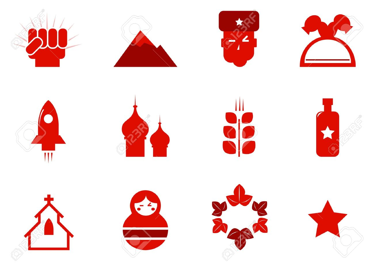 Russia and communism red retro icons. Vector Stock Vector - 11660166