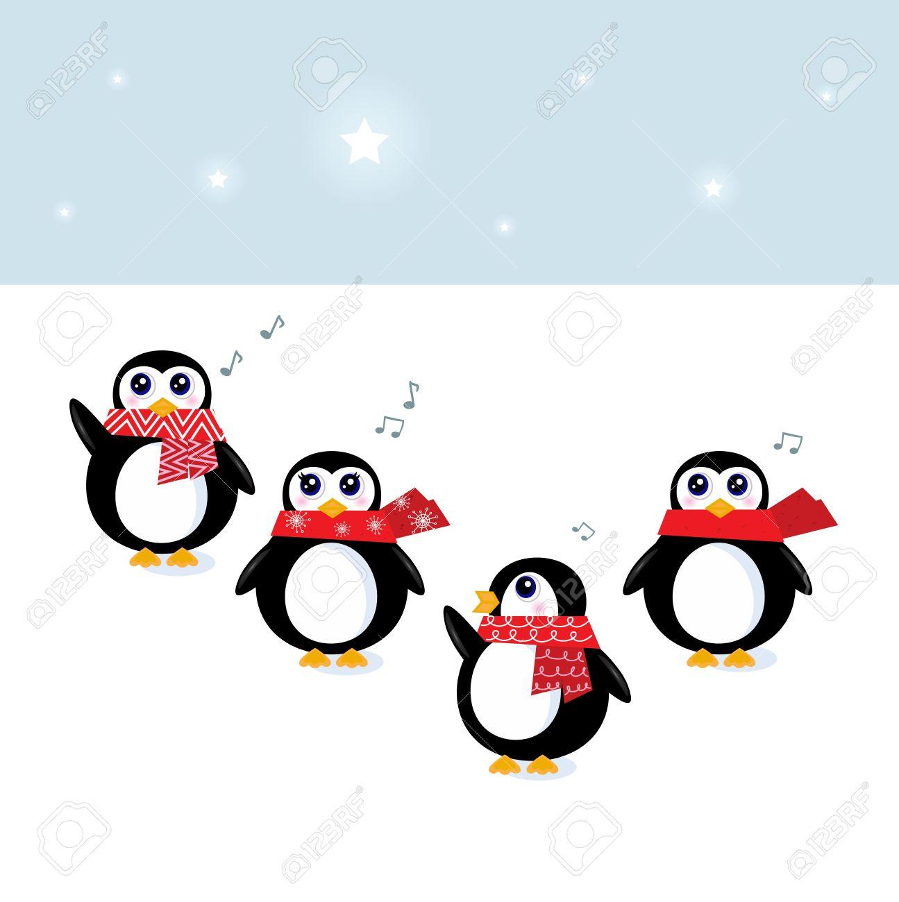 Cute Penguins Singing Christmas Song. Vector Illustration Royalty ...