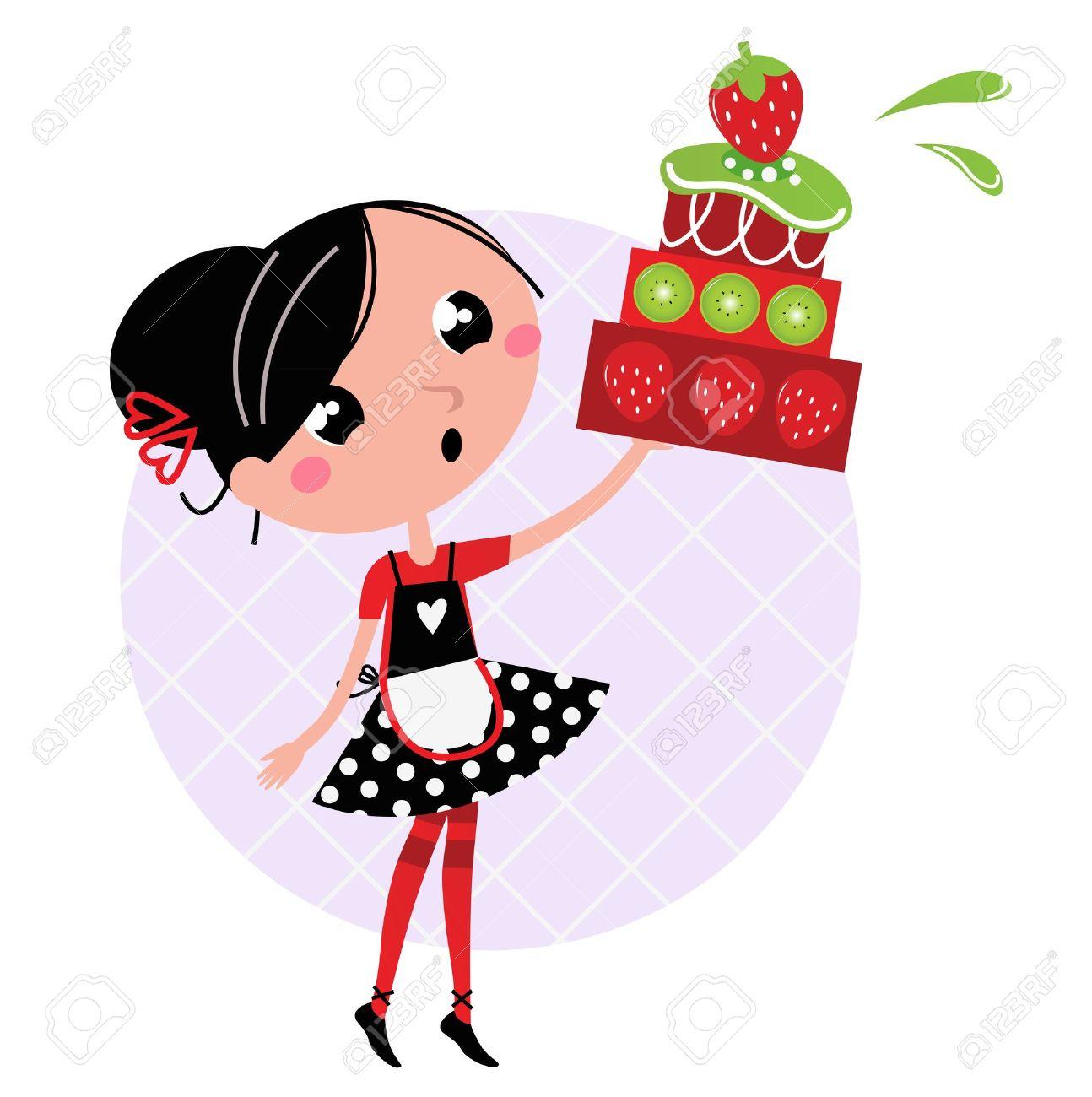 Cute retro girl holding Cake. Vector cartoon illustration Stock Vector - 11659597