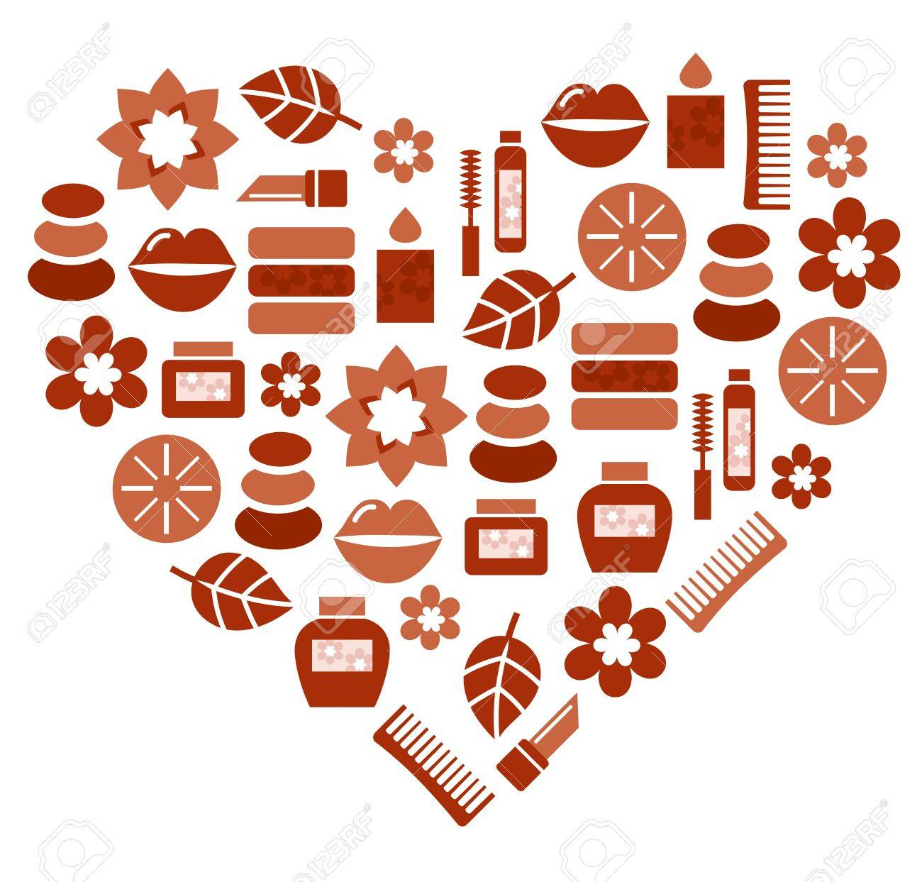 Brown heart with fashion and wellness accessories. Vector Illustration Stock Vector - 11917903