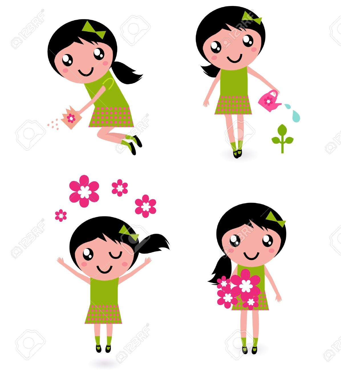 Cute spring flower - Cute Little Girl With Spring Flowers Isolated On White Stock Vector 11969400