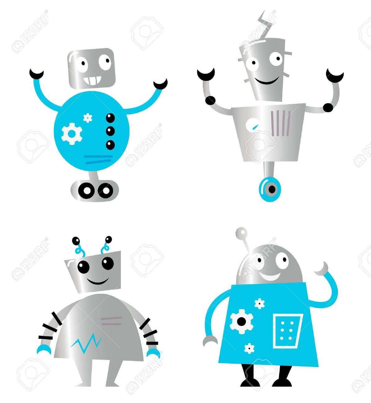 Cute cartoon robot characters. Vector collection. Stock Vector - 12022578
