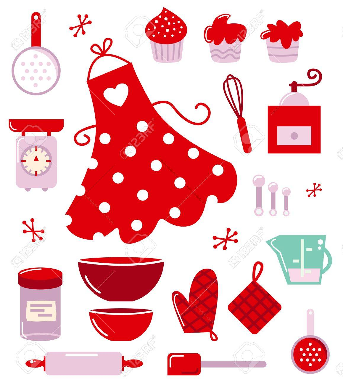 Red vintage kitchen accessories - Retro Set For Baking Or Cooking Royalty Free Cliparts Vectors Red Retro Kitchen Accessories Kitchen Accessories Bradfordkitchenscom