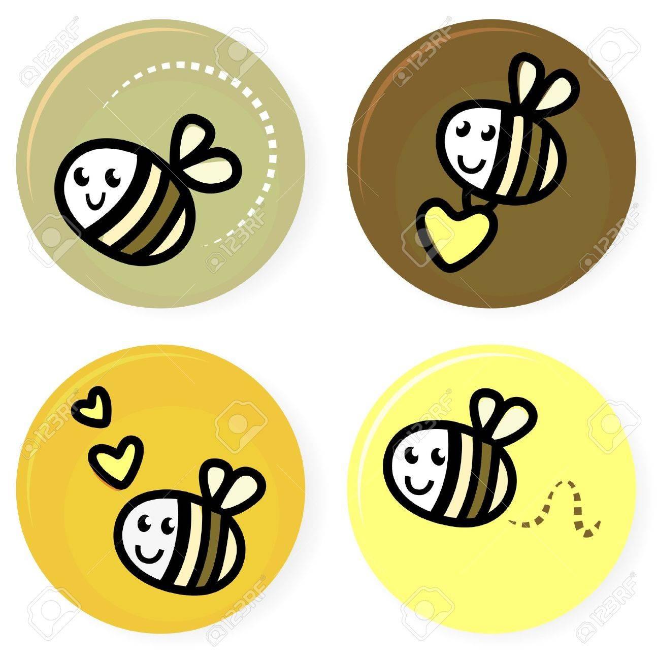 Vector set of happy bee characters. Stock Vector - 12162833