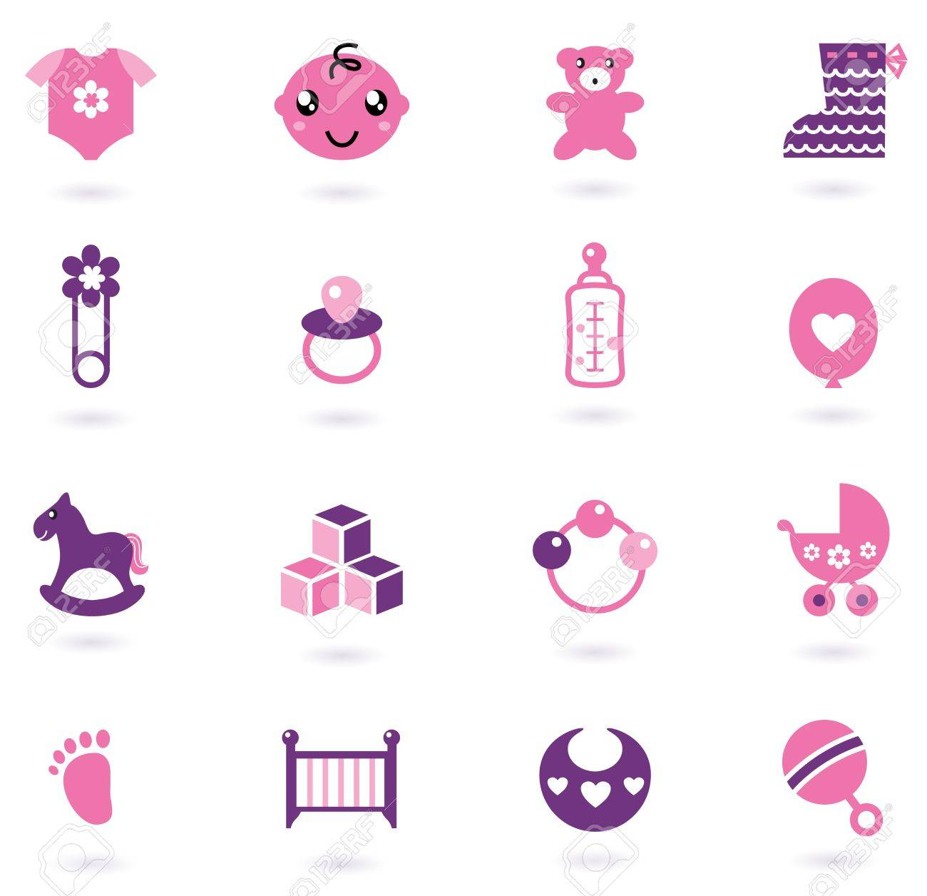 Icons cloth and accessories set for baby girl. Vector Illustration - 12162847