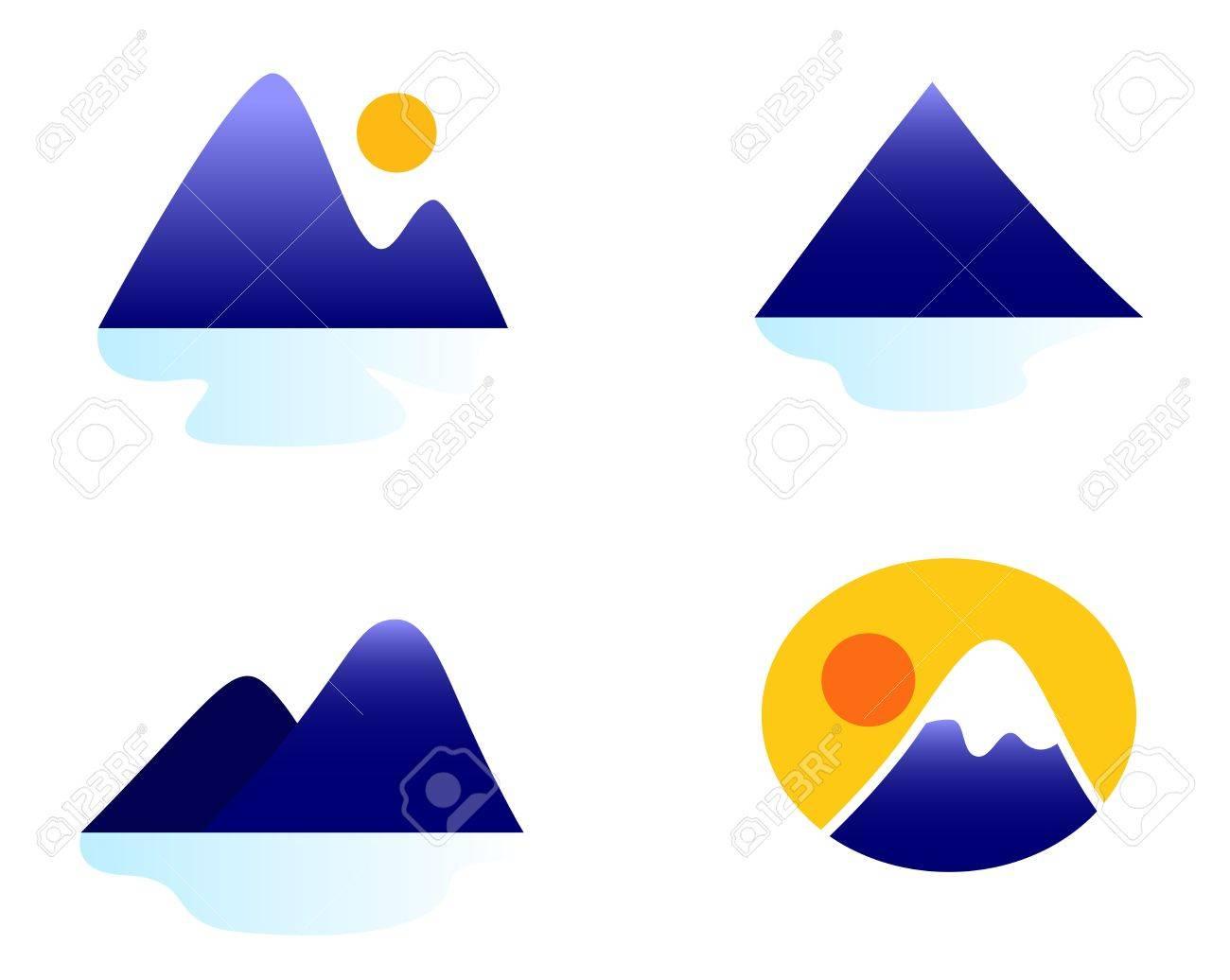Blue mountains vector icons. Stock Vector - 12162857
