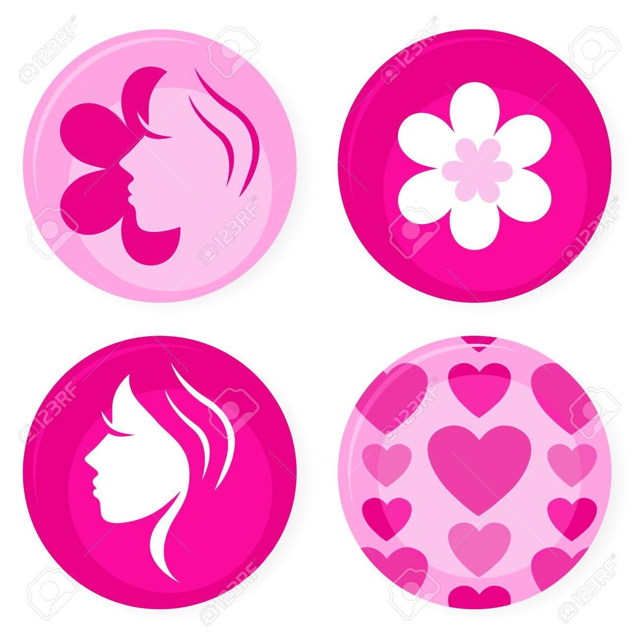 Pink femine symbols or badges. Vector Illustration. Stock Vector - 12162870