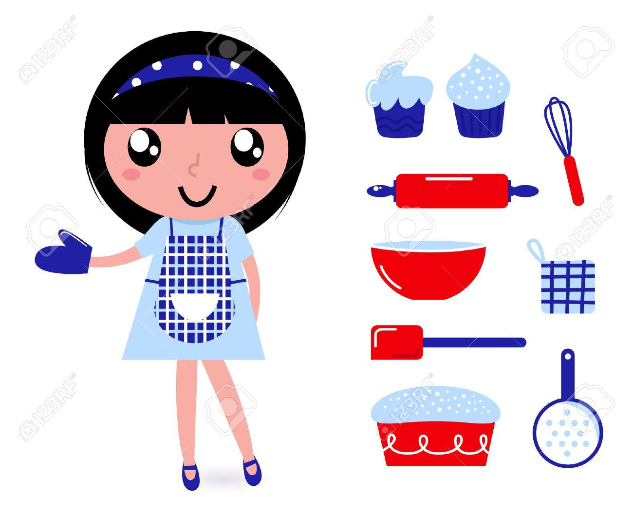 Woman cooking vector images amp pictures becuo - Apron Cute Retro Cooking Woman With Items Vector Cartoon Illustration