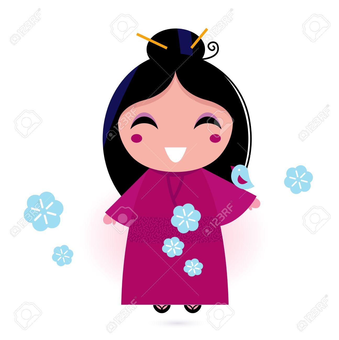 様式化されたかわいい日本人女性。ベクトル イラスト ロイヤリティ