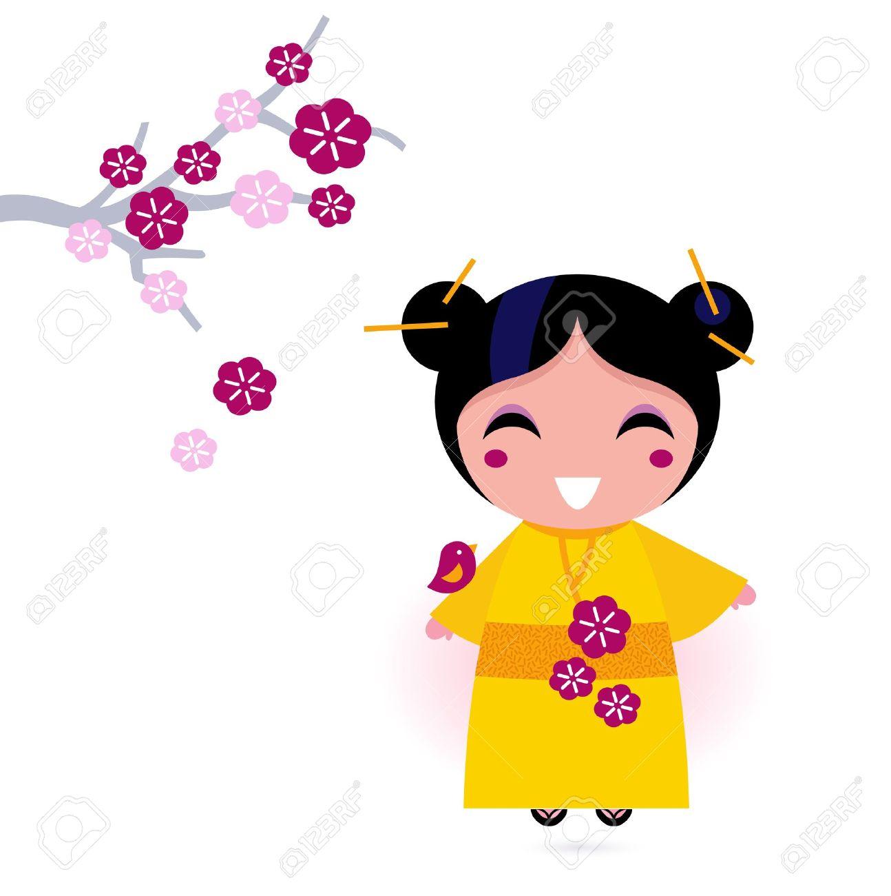 かわいい日本人女の子。ベクトル イラスト ロイヤリティフリークリップ