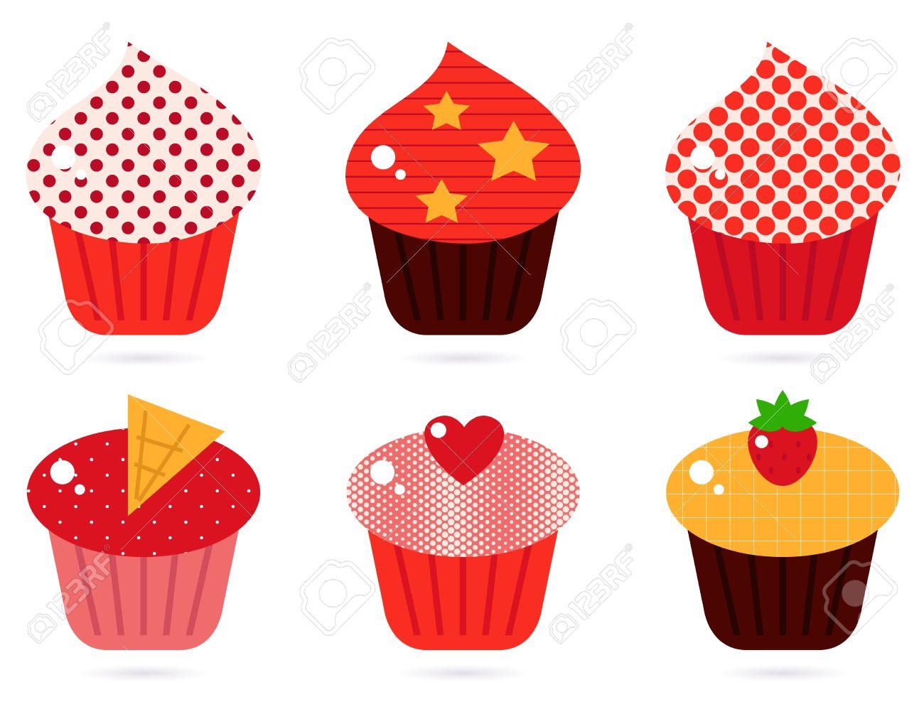 Cupcakes Colección De Iconos Vector De Dibujos Animados