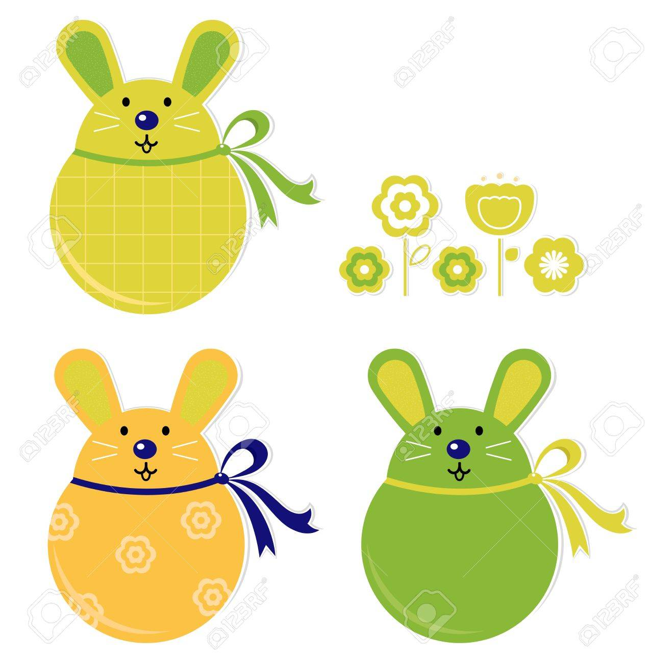 Easter bunnies collection isolated on white. Vector Stock Vector - 12838971